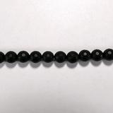 Бусина из оникса черного матового, фигурная, 8 мм (шар, граненая)