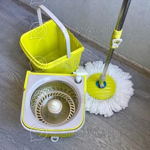 Швабра и двойное ведро для отжима и полоскания Split Bucket Spin Mop Салатовый
