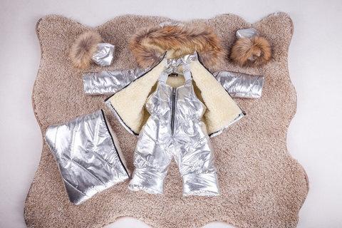Зимний комбинезон тройка для новорожденных 0-2 года Look Silver с натуральным мехом