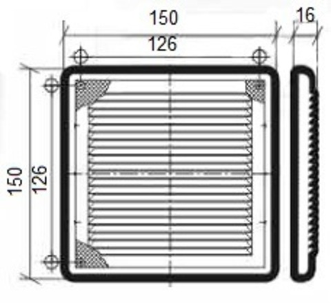 Решетка накладная 150х150 мм (1515Р)
