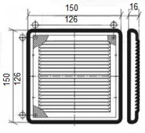 Решетка накладная 150х150 мм Эра 1515Р