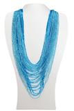 Бисерное ожерелье из 36 нитей голубое длинное