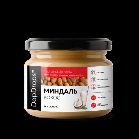 DopDrops Протеиновая Миндальная паста c Кокосом [без сахара], 250г