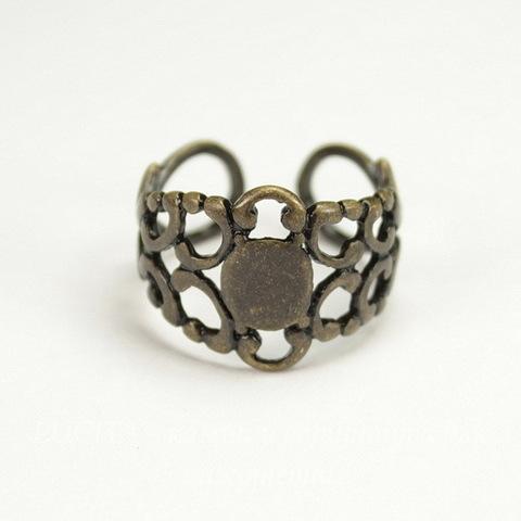 Основа для кольца - филигрань c закругленной площадкой 9 мм (цвет - античная бронза)