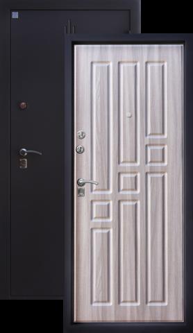 Дверь входная Алмаз Топаз 2, 2 замка, 1,5 мм  металл, (чёрный шёлк+серый холст)