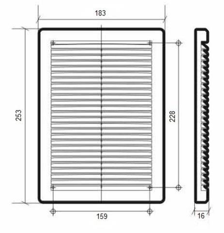 Решетка накладная 180х250 мм Эра 1825Р