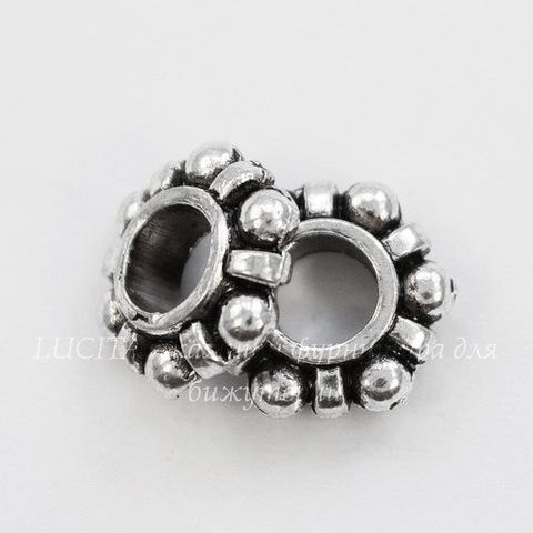 Бусина металлическая для пандоры - рондель 12х4 мм (цвет - античное серебро)