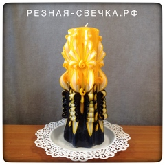 Резная свеча Желто-черная v 2