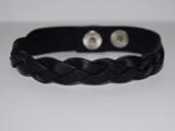 Кожаный чёрный браслет косичка TRONIN N-39BL