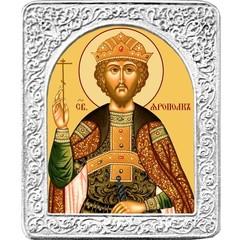 Святой Ярополк. Маленькая икона в серебряной раме.