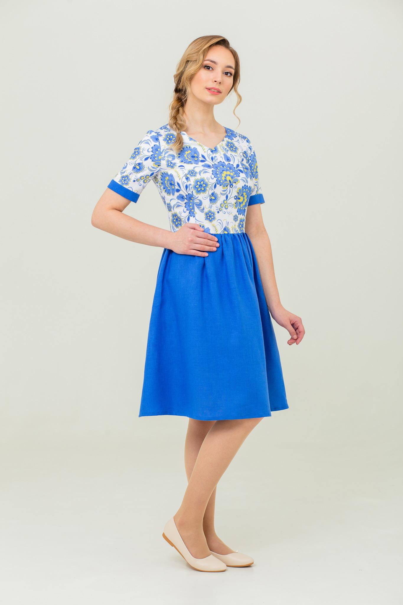 Льняное платье с орнаментом гжель