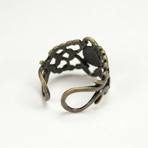 Основа для кольца филигранная c закругленной площадкой 9 мм (цвет - античная бронза)