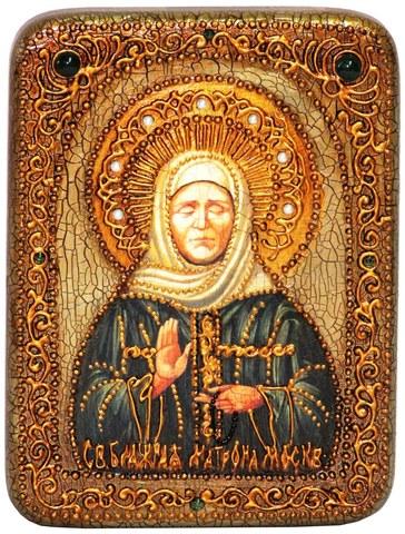 Инкрустированная рукописная икона Блаженная старица Матрона Московская 20х15см на натуральном дереве в подарочной коробке