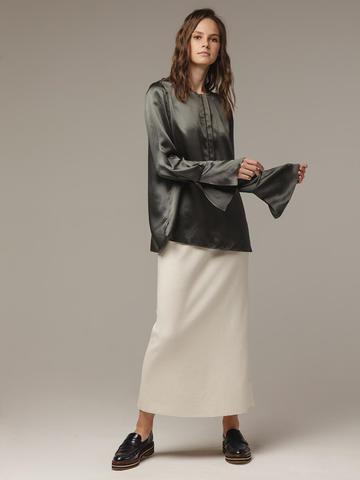 Женская темно-серая блузка из 100% шелка - фото 4