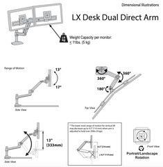 Кронштейн Ergotron 45-489-216, LX Desk Dual Direct Arm, белый