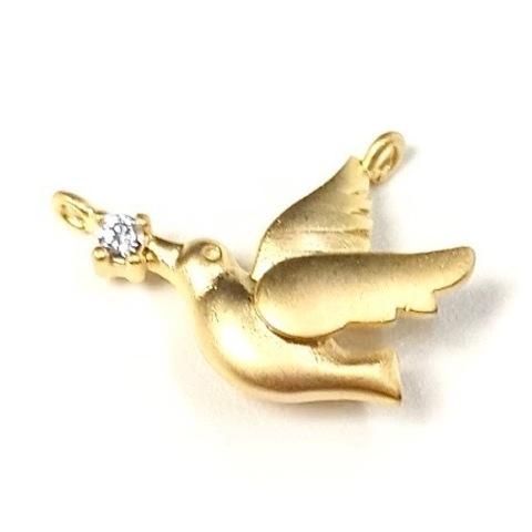 Коннектор Птичка и фианитом 15х11мм матовое золото