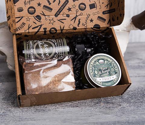 RAZ288 Подарочный мужской набор: шампунь, мыло для тела, скраб для лица и рук от MOYABORODA