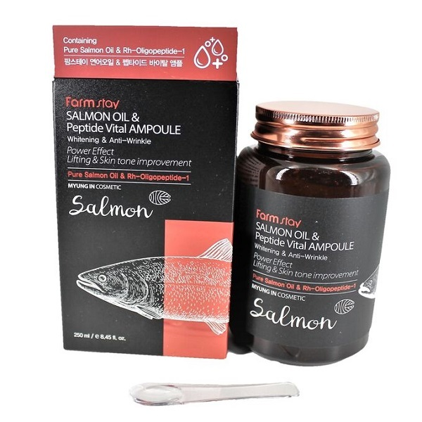 Сыворотка многофункциональная ампульная с маслом лосося и пептидами FarmStay Salmon Oil &Peptide Vital Ampoule 250мл
