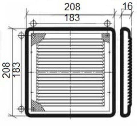Решетка накладная 210х210 мм (2121Р)