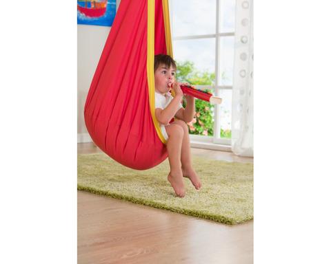 Кресло гамак детское из хлопка Joki красно-желтый с подушкой JOD70-25