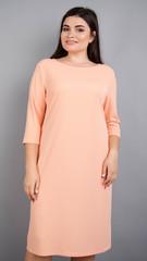 Арина креп. Универсальное  платье больших размеров. Персик.