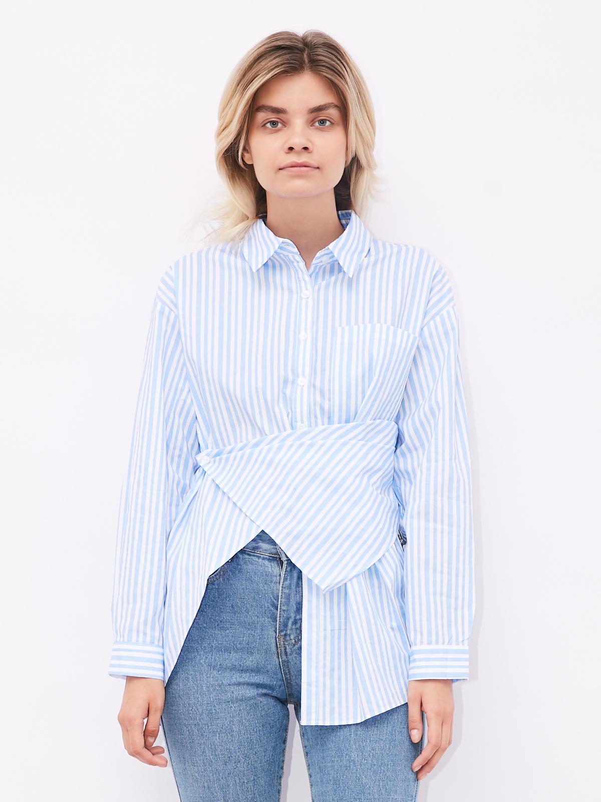 Рубашка в полоску с асимметричным низом