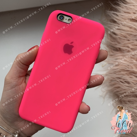 Чехол iPhone 6/6s Silicone Case /electric pink/ ярко/розовый 1:1