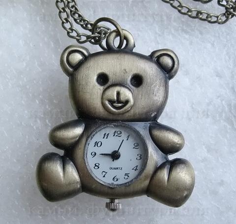 """Часы на цепочке """"Мишка"""" (цвет - античная бронза) 41х35х8 мм ()"""