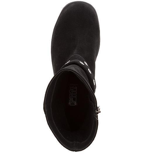 576402 Полусапожки женские черные замша больших размеров марки Делфино