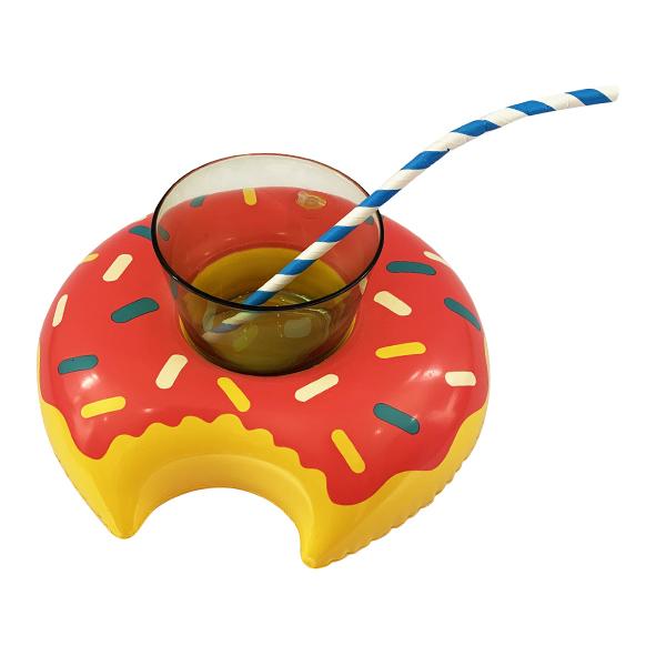 Подставка надувная Пончик малиновый 20см