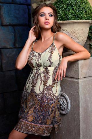 Женская интересная легкая итальянская сорочка Миа-Миа из 100% вискозы с этническим орнаментом на лямочках