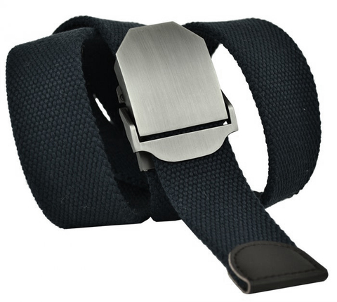 Ремень текстильный мужской тёмно-синий стропа 4 см с пряжкой зажимом 40Stropa-067
