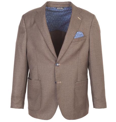 Коричневый шерстяной пиджак свободного кроя с узором «гусиная лапка»