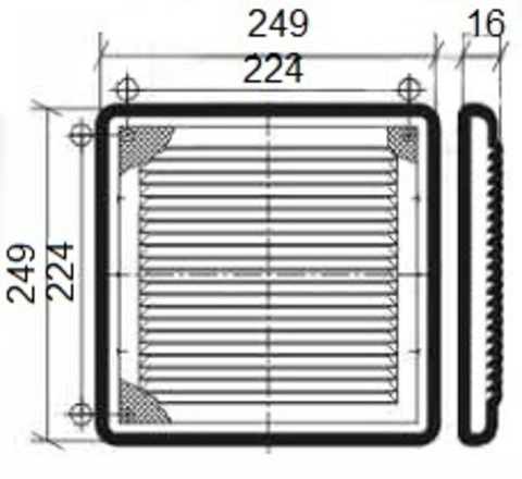 Решетка накладная 250х250 мм Эра 2525Р