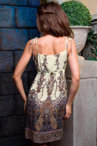 Женская интересная легкая итальянская сорочка Миа-Миа из 100% вискозы с этническим орнаментом на лямочках вид сзади