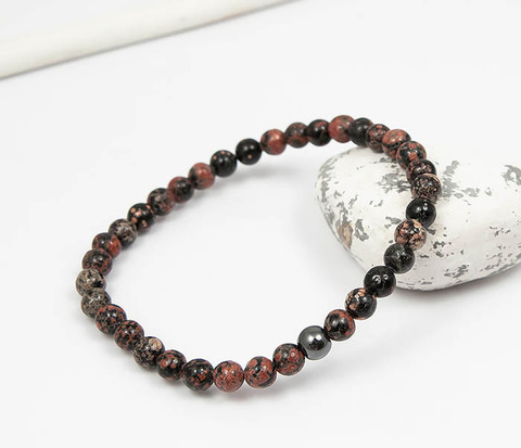 Мужской браслет из натурального камня яшмы, ручная работа