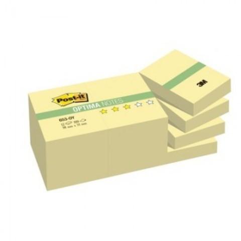 Блок-кубик Post-it Optima 653-OY, 38х51 осень канар.желт., набор 12бл