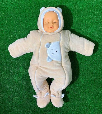 Велюровый утепленный комбинезон для новорожденного Мишутка бежевый