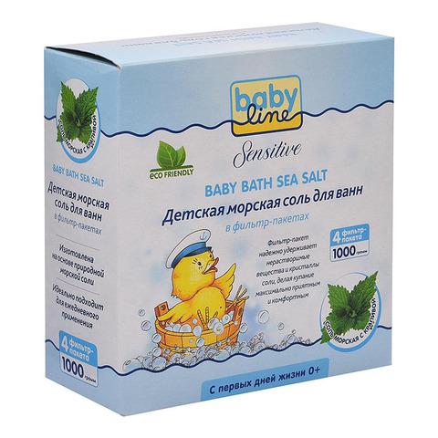 Babyline Sensitive. Детская морская соль для ванн с крапивой в фильтр-пакетах, 1000 г