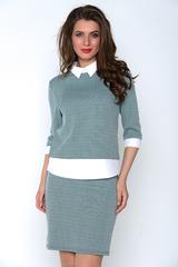 Модный блузон в сочетании с классической юбкой на резинке. Отличный офисный вариант для истинной леди. (Длина юбки: 46-51 см;48-54см; 50-57см;  52-60см)