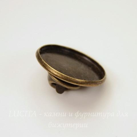 Основа для броши - значка 22х10 мм с сеттингом для кабошона 20 мм (цвет - античная бронза)(из 2х частей)