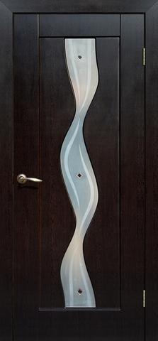 Дверь Сибирь Профиль Водопад, цвет венге, остекленная