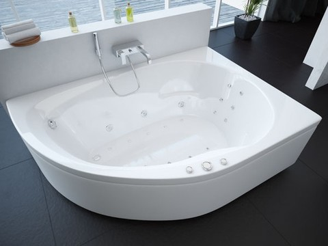 Ванна акриловая асиметричная ВИРГО 150х100 AQUATEK (с каркасом и фронтальной панелью)