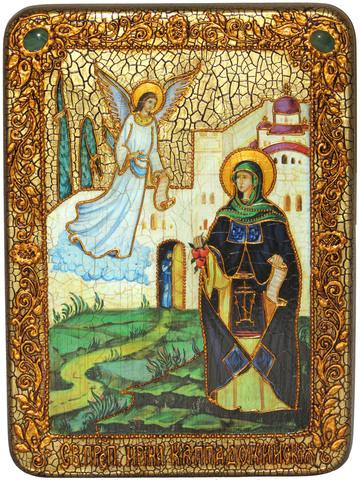 Инкрустированная икона Святая преподобная Ирина Каппадокийская (Хрисоволанта) 29х21см на натуральном дереве в подарочной коробке
