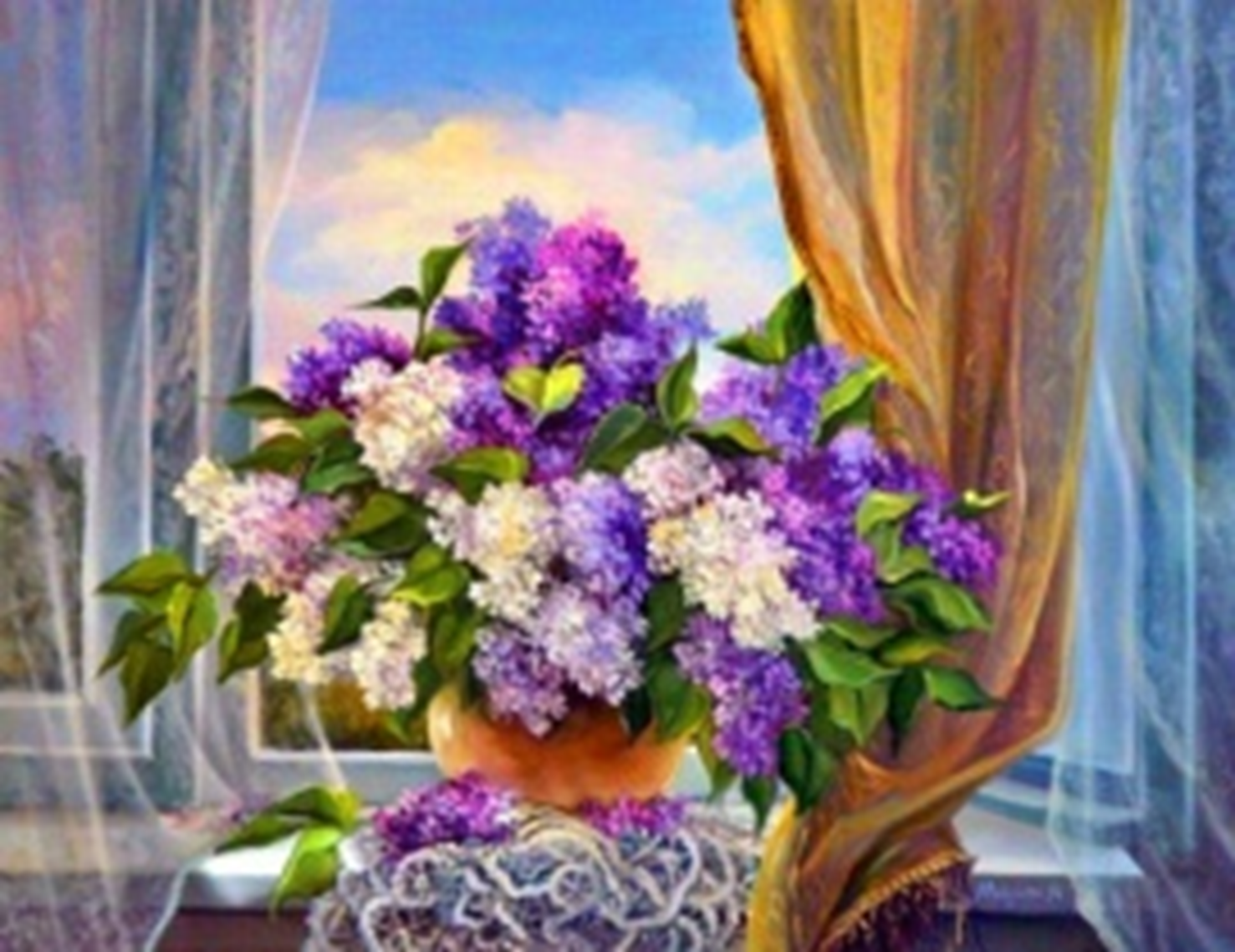 Картина раскраска по номерам 30x40 Фиолетовые цветы к окна ...
