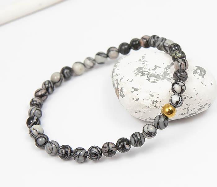 Boroda Design, Мужской браслет из серого камня агата с золотистой бусиной