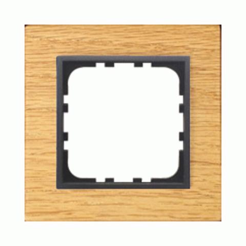 Рамка на 1 пост из натурального светлого дерева. Цвет Дуб. LK Studio LK60 / LK80 (ЛК Студио ЛК60 / ЛК80). 864155