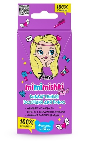 7 DAYS MIMIMISHKI 100% Концентрат коллагеновая эссенция для волос 40 мл BСД043