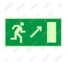 """Фотолюминесцентный знак Е05 """"Направление к эвакуационному выходу направо вверх"""""""