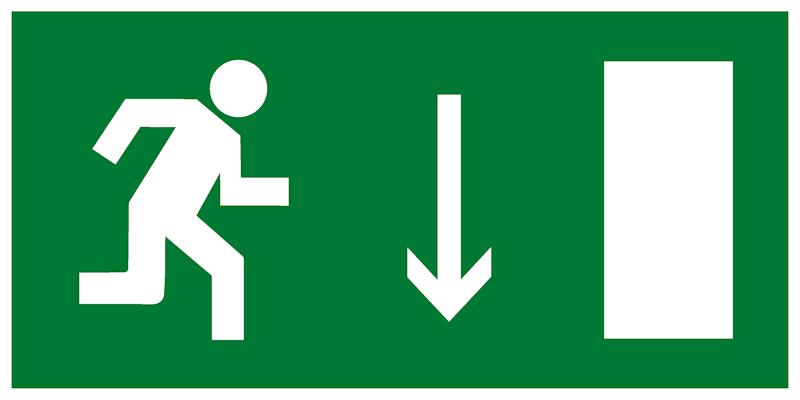 Эвакуационный знак Е09 - Указатель двери эвакуационного выхода (правосторонний)